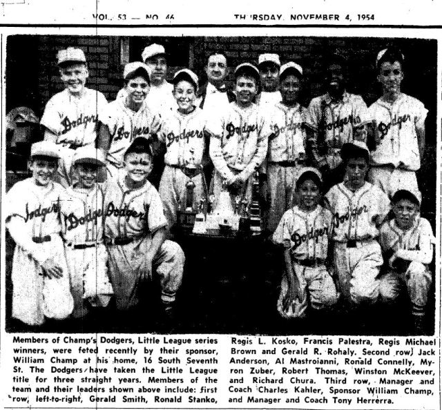 Nov 1954 Baseball Champs