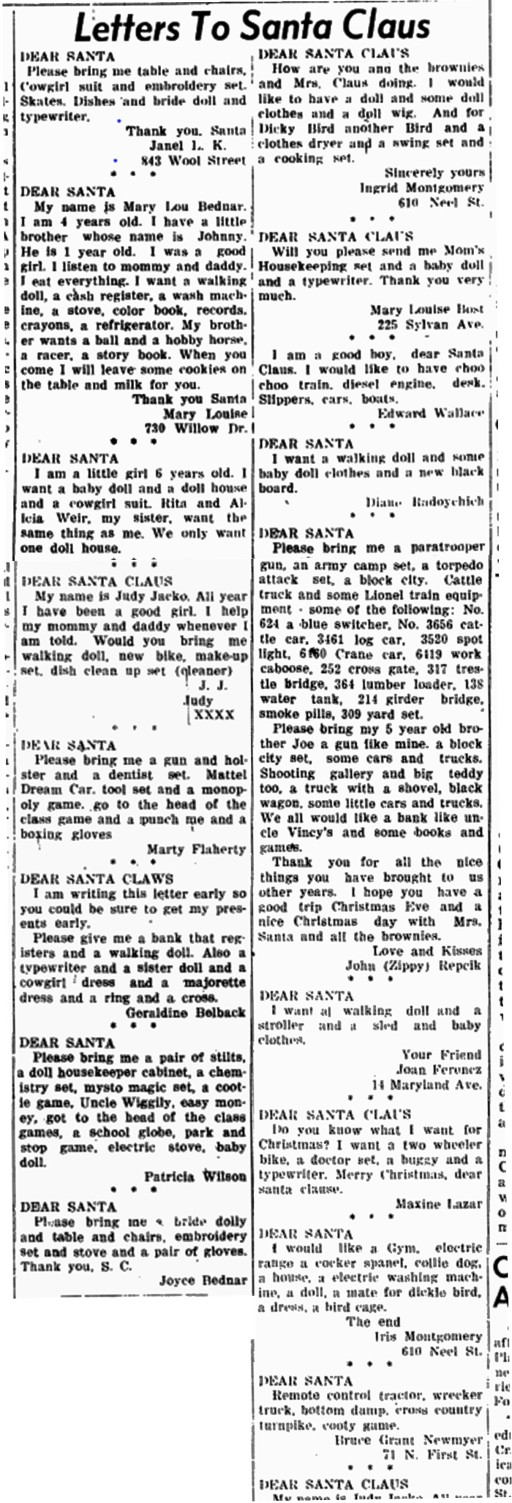 1953 letters to santa