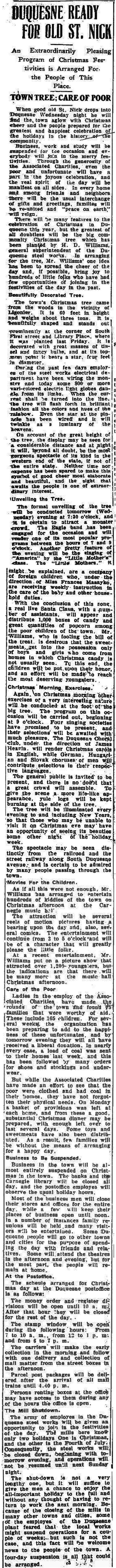 Christmas in Duquesne 100 Years Ago