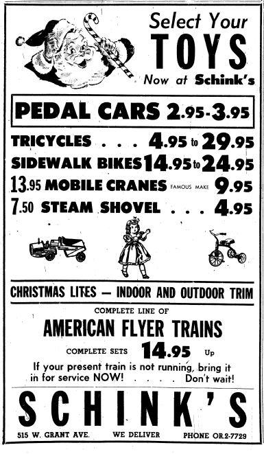 Schink's 1954 toy ad