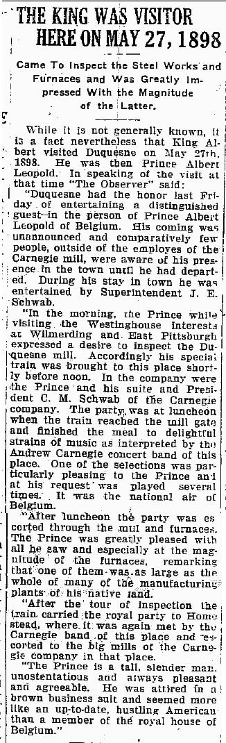 1898 King Albert Visit