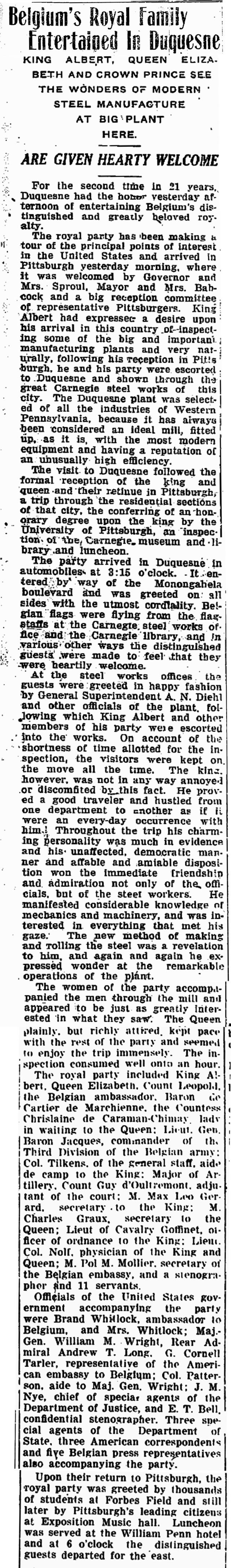 1919 King Albert Visit